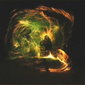Creating my universe by William Brunson Jr. - Abstract Fire & Fireworks ( orange, fire performance, green, fire art, art, flow, men, fire spinner, fire, black, fire whip )