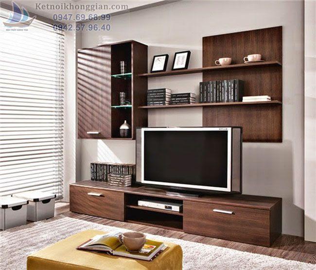 thiết kế phòng khách với tủ cao tầng