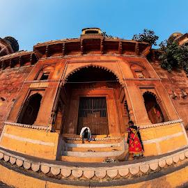 Chet Singh Ghat, Varanasi, UP, India by Ketan Vikamsey - Buildings & Architecture Public & Historical ( canon5dmarkiv, pic of the day, canonusa, chet singh palace, lonelyplanet, lonelyplanetmagazineindia, natgeohd, up tourism, canonphotography, ganga ghat, natgeo, fisheye, photo of the day, golden hour, uttar pradesh tourism, kv kliks, natgeotravel, varanasi, travel the world pix, bbctravels, ketan vikamsey, incredible india, chet singh ghat )