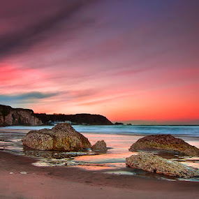 White Park Bay by Grzegorz Gluchy - Landscapes Sunsets & Sunrises ( water, ireland, sunset, night, beach )