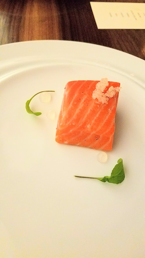 Roe PDX - Salmon course, with gin and tonic inspired botanical flavors
