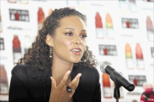 VOCAL: Alicia Keys addresses journalists in Parkhurst, Johannesburg, yesterday. PHOTO: BAFANA MAHLANGU. 10/6-06/2010. © Sowetan.