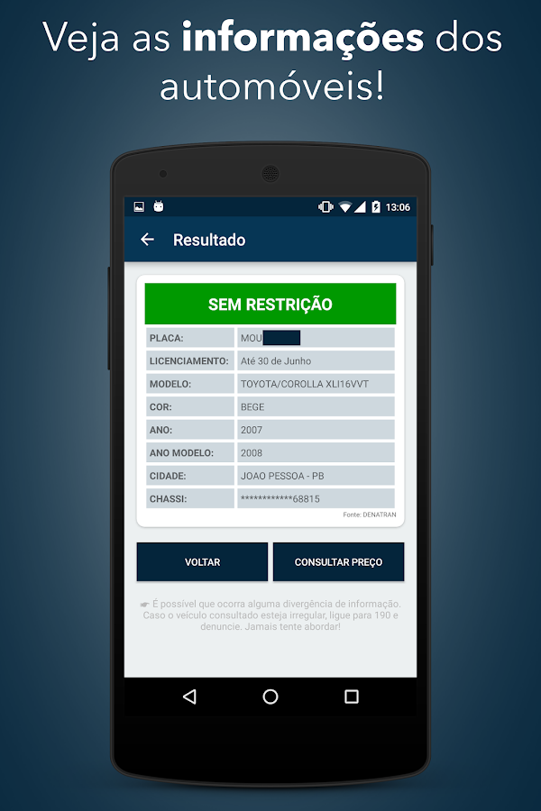 Consulta Placa Veiculo DETRAN- screenshot
