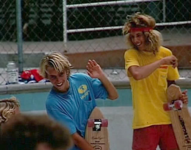"Photo: A very young Jay Adams and Tony Alva having fun messing around. The quality of ""T"" Shirts back then were a lot more superior then they are today."