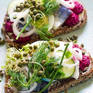 Herring Smørrebrød (Danish Sandwich).