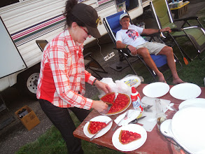 Photo: Day 28 Murdo to Chamberlain SD 95 miles 3600' climbing: Ann drove from Kennebec, and met us at our camp site, bringing us home made strawberry pie, with graham cracker crust and whipped cream. She talked cycling to us and gave history of the area.