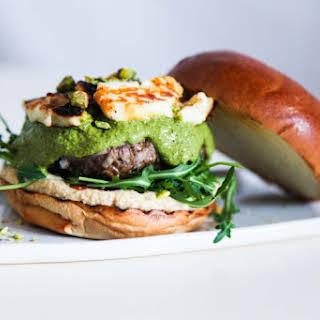 Super Tasty Lamb Burger with Halloumi and Green Herb Sauce.