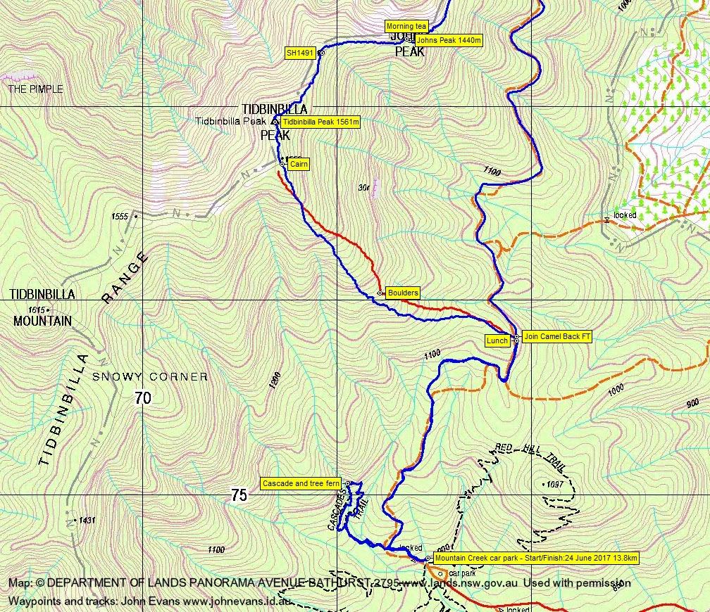 24 June 2017 Tidbinbilla Peak via the northern Skyline Track