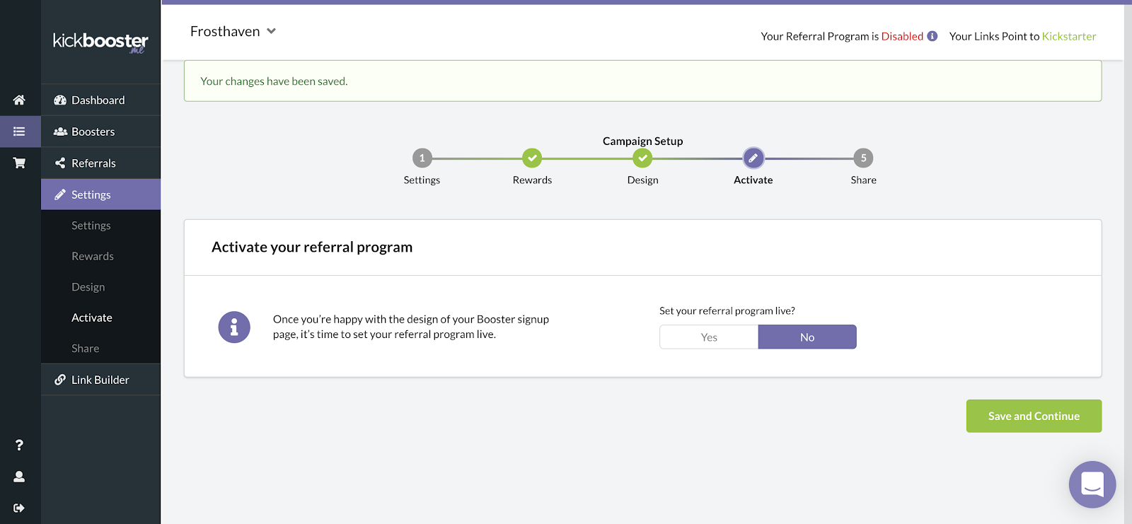 kickbooster reivew how to activate your referral program