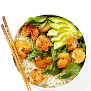 Caesar Shrimp and Avocado Noodle Bowls