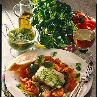 Pan-Seared White Fish with Warm Tomato Salad and Pesto.