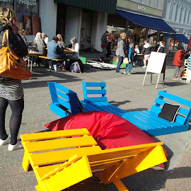 colors on the street by Liliana Lesu - City,  Street & Park  Street Scenes ( recycle, chairs, colors, pallets, street view, norway,  )