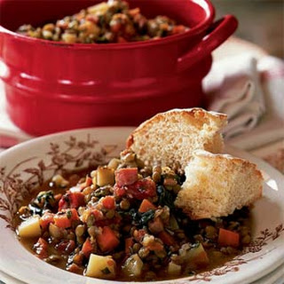 Lentil Stew with Ham and Greens.