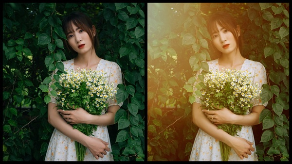 Montagem de duas fotos usando a mesma mulher segurando um buquê de flores, com um vestido florido e em um fundo com várias plantas. Foto 1 sem edições e foto 2 usando o Filtro SI-1