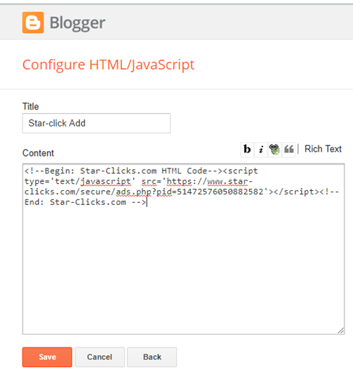 how to use star click html code