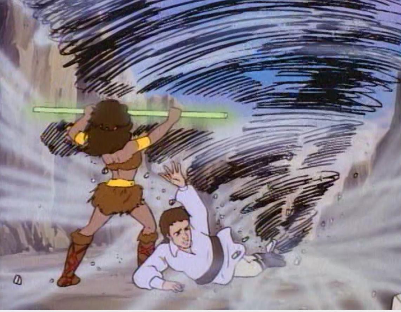 Diana stands over Kosar, defying a tornado
