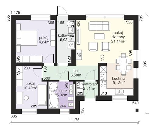 Dom przy Bukowej 15 - Rzut parteru