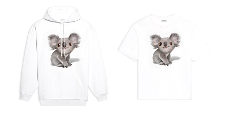 Una felpa ed una T-shirt raffiguranti un Koala, create dal brand Balenciaga per dare sostegno in Australia durante gli incendi avvenuti all'inizio del 2020. Fonte: sito ufficiale Balenciaga