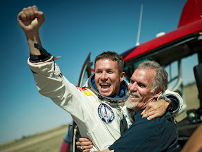 Photo: Pilot Felix Baumgartner of Austria and Technical Project Director Art Thompson of the Unites States celebrate after successfully completing the final manned flight for Red Bull Stratos in Roswell, New Mexico, USA on October 14, 2012. // Jörg Mitter/Red Bull Content Pool