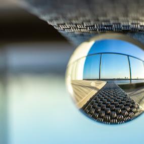 Lensball city shot by Clarissa Human - Artistic Objects Glass ( macro, city life, lensball, lensball photography, apartment photography )