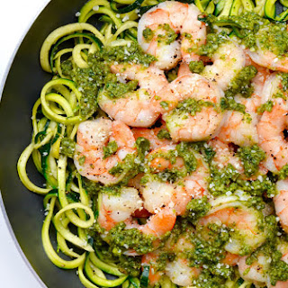 Pesto Zucchini Noodles with Shrimp.