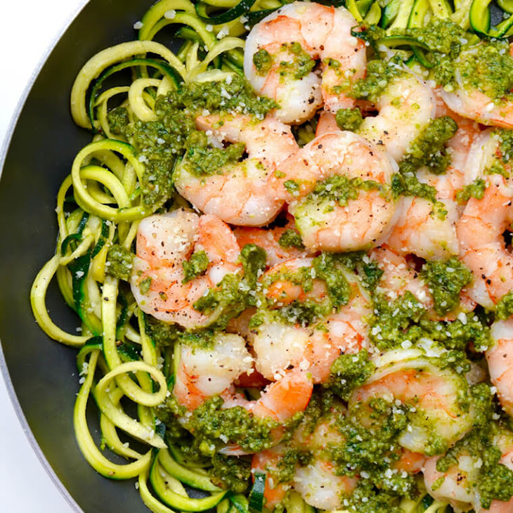 Pesto Zucchini Noodles with Shrimp