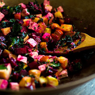 Stir-Fried Beet Greens, Tofu and Beets