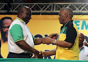 Newly elected ANC President Cyril Ramaphosa congratulates Ace Magashule after he was elected General Secretary at the 54th ANC Electve Conference at Nasrec, Johannesburg.