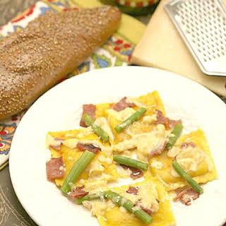 Butternut Squash Ravioli with Asparagus & Turkey Bacon.