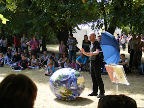Photo: This astronomer provided a lively exposition (with lots of clever props!) of a number of astronomical subjects and phenomena in a near one-hour presentation, which he repeated several times over the course of the afternoon.