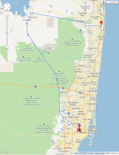 Photo: GPS track of the ride. Between Belle Glade and Wellington I took the bus and had paused the GPS tracker, hence the straight line between two points not following a road there. The wind was SE turning to SSE, 15-25mph.