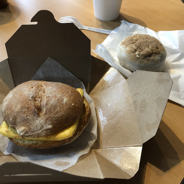 Breakfast sandwich and dairy free pear donut!