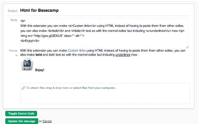 HTML for Basecamp