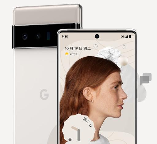 雲霧白 Pixel 6 Pro 的正面照和背面照。
