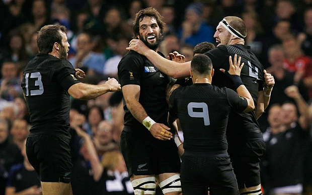 Brodie Retallick and friends. Picture: REUTERS