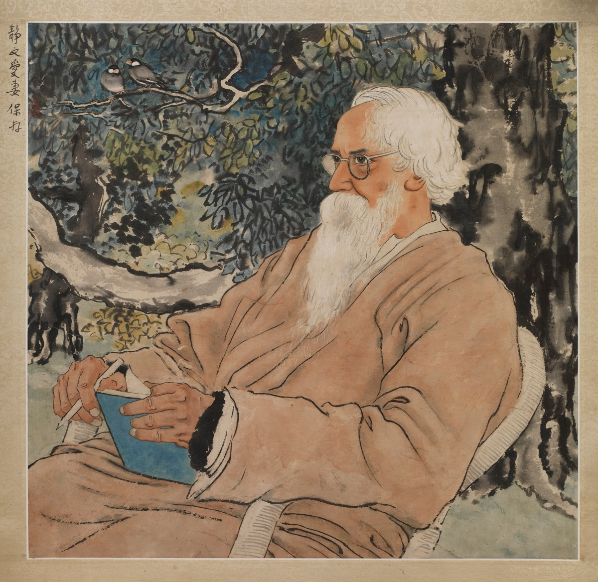 xu beihong tagore chinese ink
