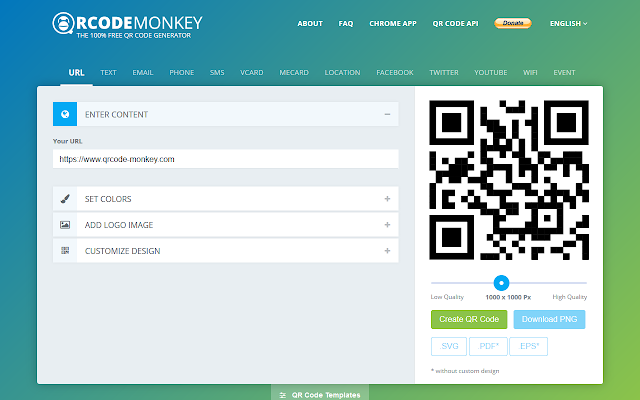 Qrcode monkey free qr code generator chrome web store create custom qr codes with logo color and more for free this qr code generator saves in print quality and vector graphics stopboris Image collections