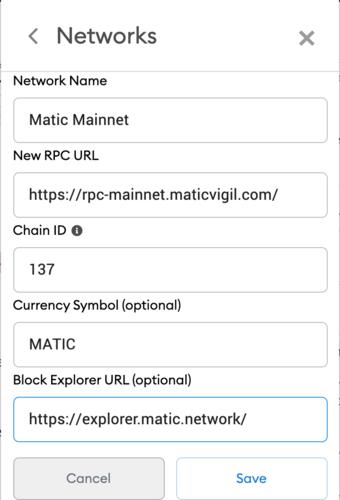 MATIC Metamask settings