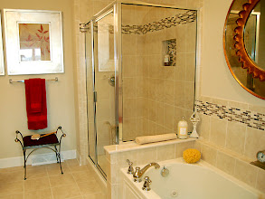 Photo: The master bathroom in our CATALINA model townhome at The Havilnads in Queensbury, New York