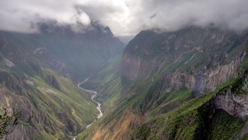 cloudy canyon del colca near arequipa peru