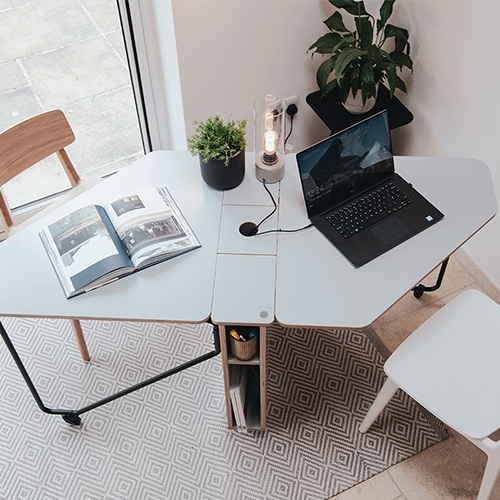 Drop desk for two people