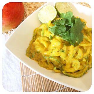 Fully Raw Mango Curry with Cucumber Noodles