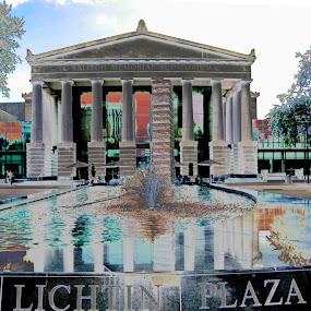 Raleigh Memorial Hall by John Stone - Digital Art Places ( water, concert, building, fountain, art, architecture, raleigh, plaza )