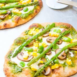 Grilled Veggie Flatbread Pizza with Pesto.