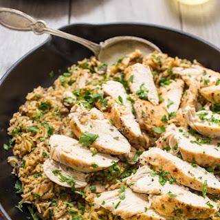 Chicken Mushroom Rice Skillet.