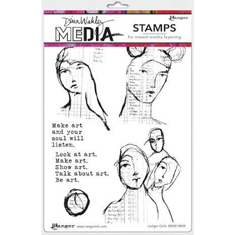 Dina Wakley Media Cling Stamps 6X9 - Ledger Girls