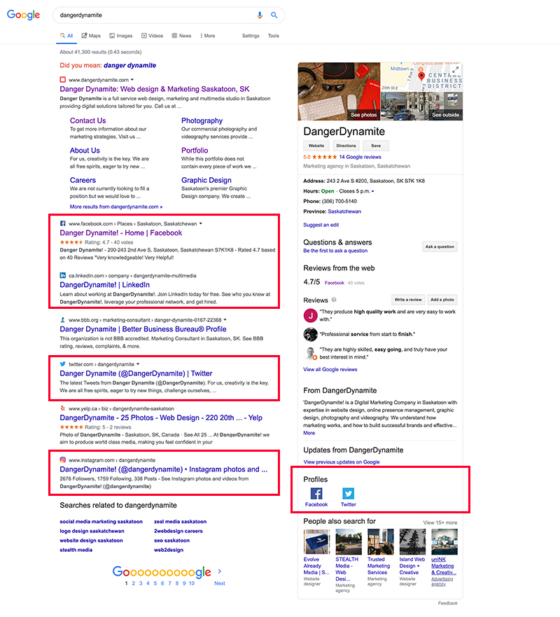 SERP (search engine results page) of DangerDynamite showing the business listing and rich snippets.