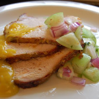 Pork Tenderloin With Mango-Kiwi Glaze Served With Tomatillo Salsa