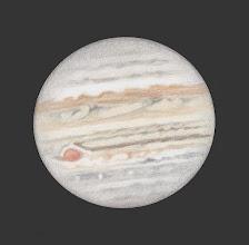Photo: Jupiter, 7 juillet 2019 à 21h45 TU. 470X en bino et ADC. Seeing correct.