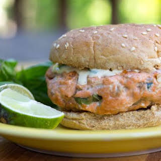 Asian Salmon Burgers With Tangy Ginger Lime Sauce.